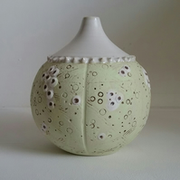 Lime sea urchin bud vase