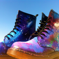 Galaxy Space Cosmic Print Dr.martens women shoes boot REALLY LEATHER hand painte