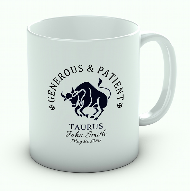Personalised Taurus Mug, Zodiac Mug, Astrology Mug, Star Sign Mug