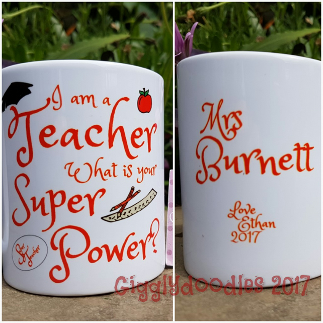 I am a teacher what is your super power mug, personalised teacher mug, teacher