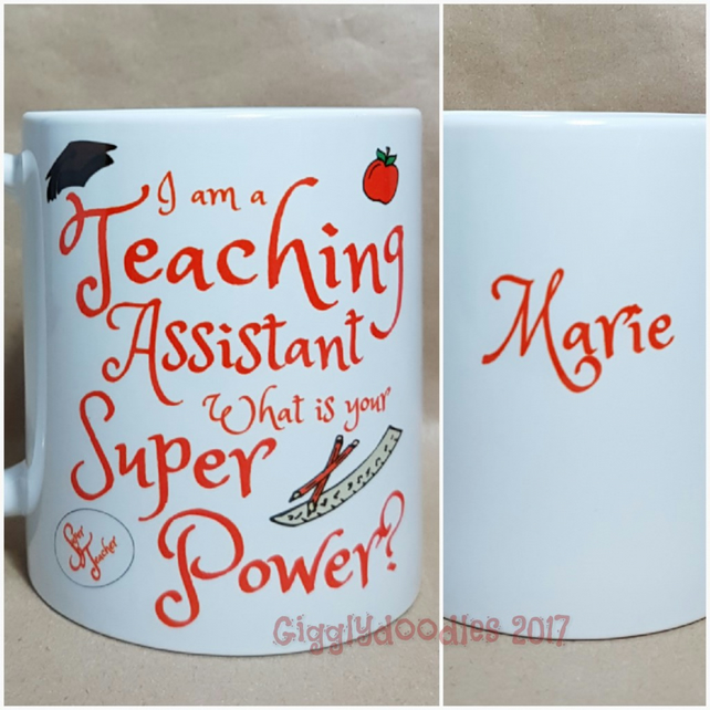 Teaching assistant super power mug, teacher assistant mug, TA gift