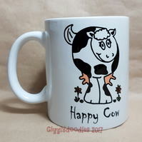 Happy arsey cow reversible mug, cow lover gift, cow mug