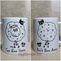 Ewe bee happy reversible mug, sheep mug, happy arsey reversible sheep mug