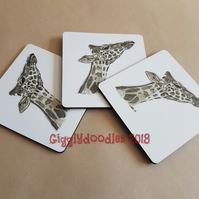 Giraffe coaster, wooden coaster with print of giraffe pencil drawing