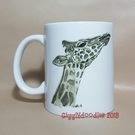 Giraffe mug, mug with pencil drawing print of giraffe