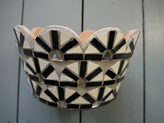 black and white design mosaic pot