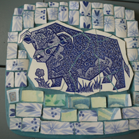 blue mosaic cow panel (price includes postage)