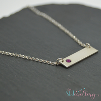 Simple sterling silver birthstone bar necklace