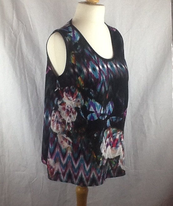 Multi coloured sleeveless round neck top, size 10-14.