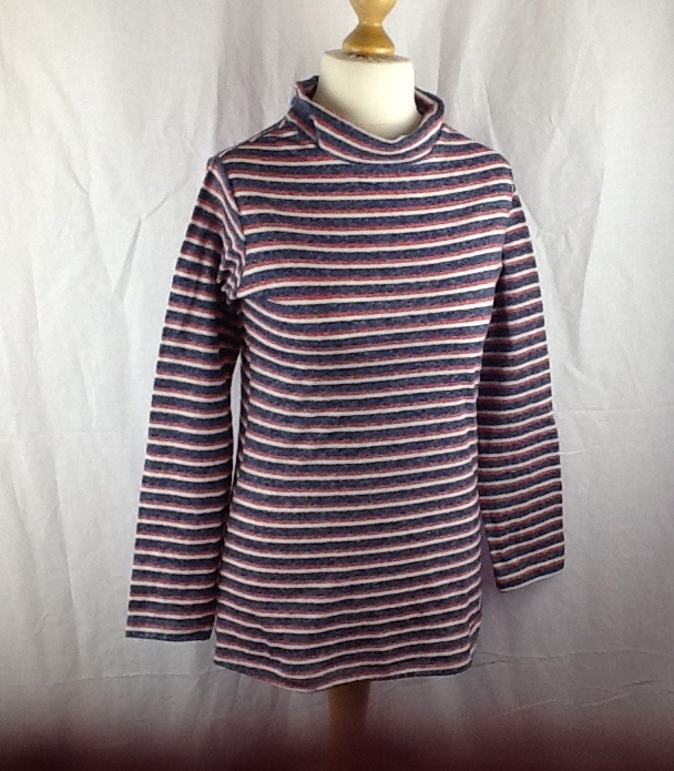 Stripe polo,turtleneck top. Long sleeves Size 10-12
