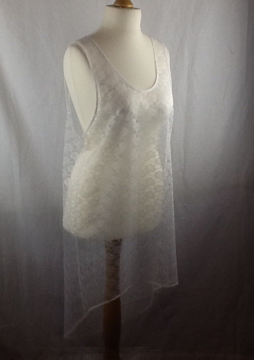 White NON-Stretch lace beach dress, size 12-16