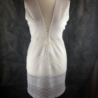 White stretch crochet lace beach coverup dress, size 14-16