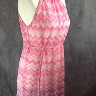 Pink and white zigzag crochet lace coverup beach dress, will fit size 10 upto16
