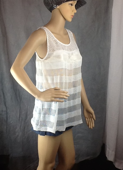 White cream crochet lace fabric swing top size 10-14