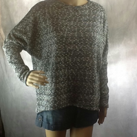 Loose long sleeve baggy jumper grey-silver fully lined  size 10-14