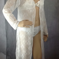 Cream soft Lacey mid length summer kaftan size 10-12