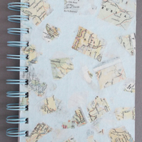 "A6 Spiral Bound Handmade Notebook  ""World Atlas"