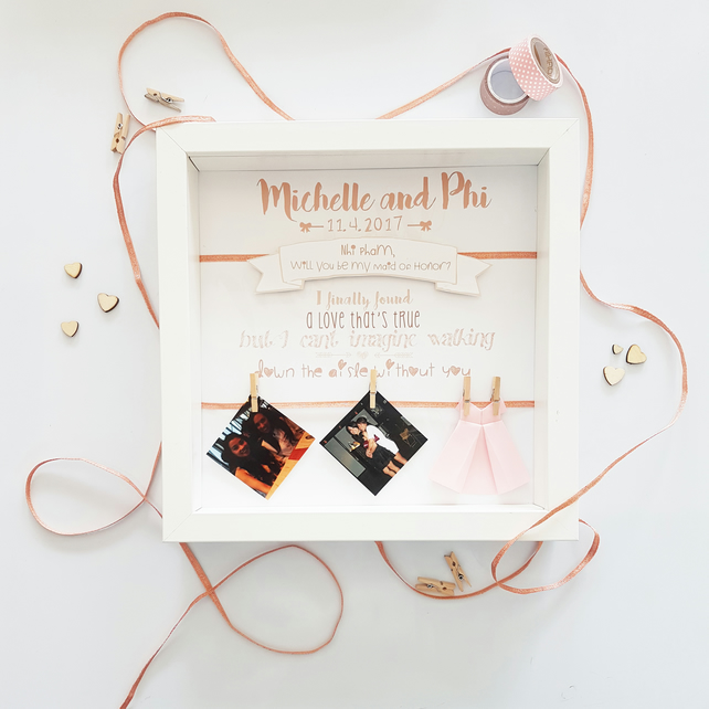 Will you be my bridesmaid, maid of honour, flowergirl unique personalised frame