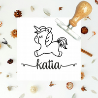 unicorn stamp - kids stamp, stamp with childs name, birthday gift