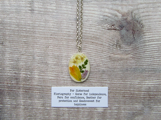 For Sisterhood Necklace. Sterling Silver 925 Real Flower Arrangement Pendant.
