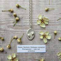 Hawthorn Pendant. Sterling Silver Necklace With Fine Silver Botanical Charm