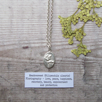 Meadowsweet Pendant. Sterling Silver Necklace With Fine Silver Botanical Charm