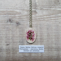 Heather Flower Pendant. Sterling Silver 925 with Real Heather