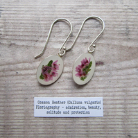 Heather Earrings. Sterling Silver 925 Botanical Earrings with Real Flowers