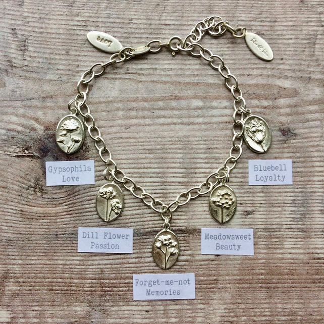 For Love - Sterling Silver Adjustable Bracelet With Botanical Charms