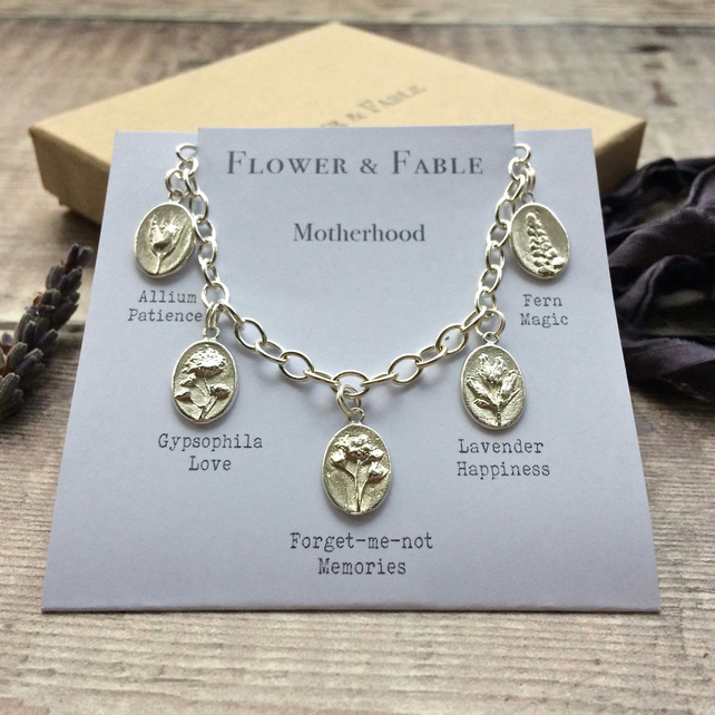Motherhood Bracelet - Sterling Silver Adjustable Bracelet With Botanical Charms