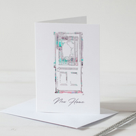 New Home - Front Door- Illustrated Blank Greeting Card