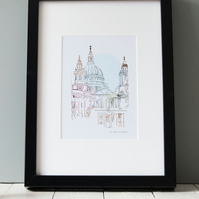 Illustrated Print - London - St Paul's Cathedral