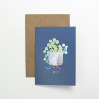 The Friendship Plant - Pilea -  Illustrated Blank House Plant Greeting Card