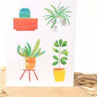 Potted Plants - Houseplant Blank Greeting Card