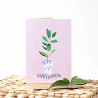 Pink Potted Plant - Houseplant - Illustrated Blank Greeting Card