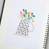 Mrs Robinson's Pretty Flowers in a Spotty Jug - Illustrated Floral Art Print