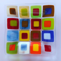 Multi-coloured glass dish