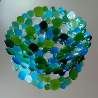 Decorative blue and green pebbles bowl, fruit or display, Free UK delivery