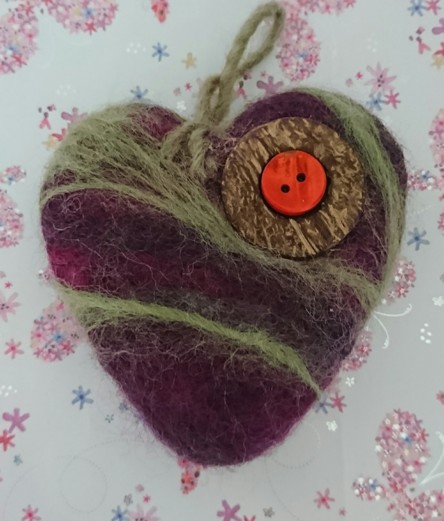 Evening Mist  - Needle felted heart - Handmade - Home Deco - Sold Separately