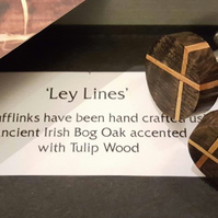 'Leylines' - Wood turned cufflinks in  Ancient Irish Bog Oak