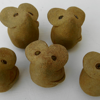 Five Pottery Mice