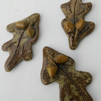 Three Oak leaf fridge magnets