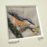 Nuthatch - hand-stitched textile picture