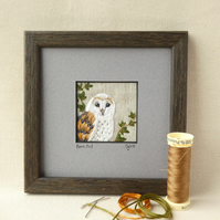 Barn Owl - hand-sewn textile picture