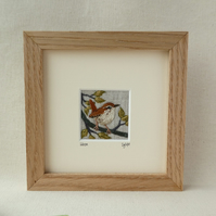 Wren - hand-stitched textile picture
