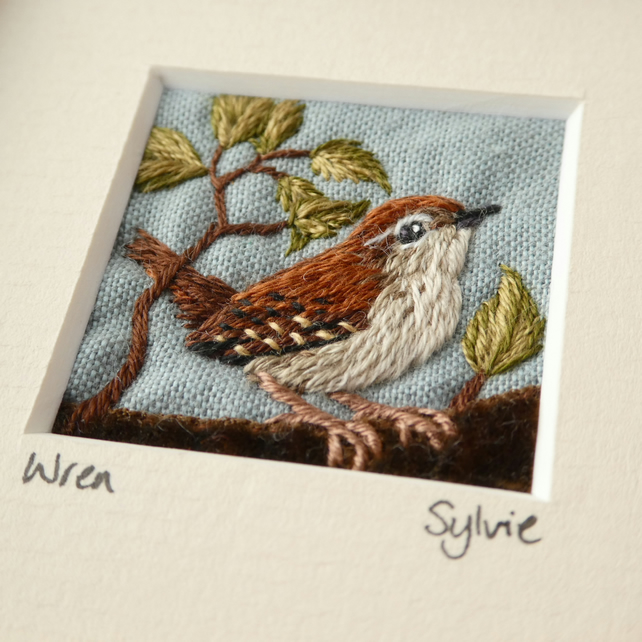 Wren on a log - hand-stitched textile picture
