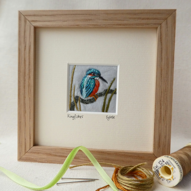 Kingfisher - hand stitched picture