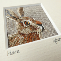 Hare - hand-stitched textile picture