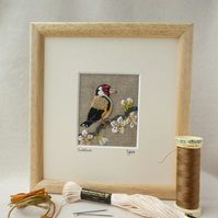 Goldfinch - hand-stitched picture