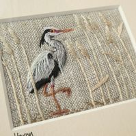 Heron - hand stitched textile picture